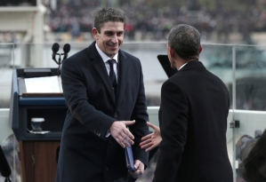 President Barack Obama shakes the hand of poet Richard Blanco after his inaugural poem.