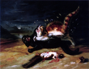Cats Fighting, by John James Audubon