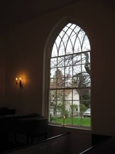 Window at Priestly Chapel where I'll be reading poetry in the morning.