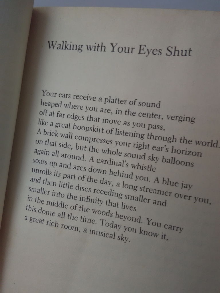 Text of William Stafford's Poem Walking with your eyes shut