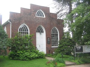 Front view of historic Joseph Priestly Memorial Chapel, Northumberland, PA