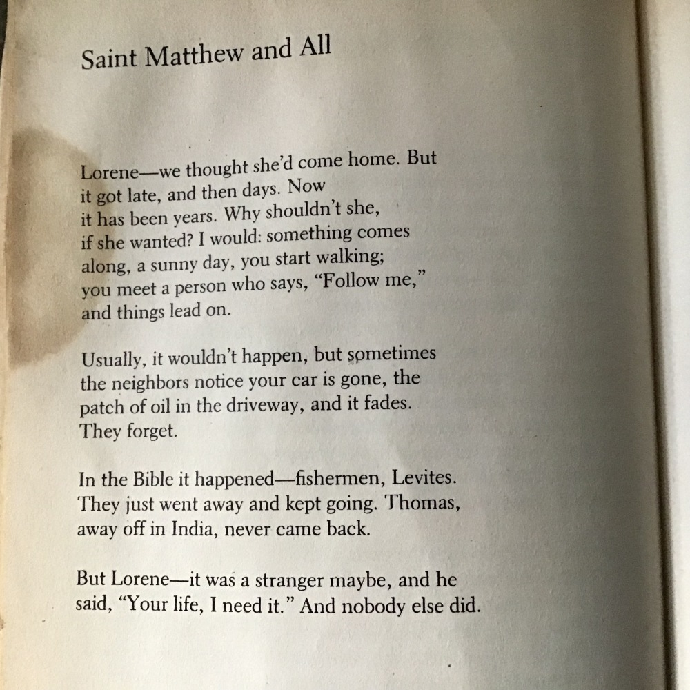 Saint Matthew and All from 1987 copy of An Oregon Message by William Stafford